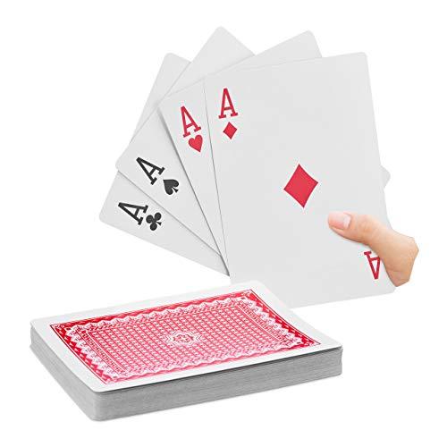 Relaxdays Jumbo Pokerkarten, 54 Karten, wasserfeste XXL-Kunststoffspielkarten, Spaßgeschenk o. Deko,18 x 13 cm, bunt