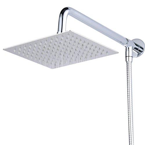 Hiendure® - Soporte de pared para cabezal de ducha cuadrado y manguera (20,32cm, acero inoxidable, acabado cromado)