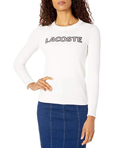 Lacoste Womens Long Sleeve Crew Neck Tattersall Logo Cotton Sweater Sweater, Flour White, 8