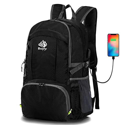BOJLY Zaino da Trekking, 40L Super Capacity 430g Zaino da Hiking Borsa da Viaggio Sportiva Pieghevole Impermeabile di Alta qualità con Caricatore USB e Porta Auricolari per Viaggi o Scuola, Campeggio