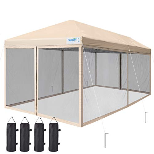 Quictent Ez Pop up Canopy Screened with Netting Instant Screen House Room Tent Mesh Side Walls, Roller Bag & 6 Sand Bags Included (Tan, 10 x 20 ft)