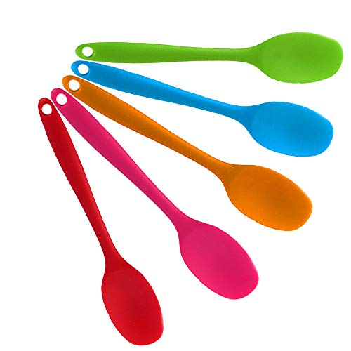5 Pieces Small Silicone Spoons Non-Stick Spoon High Temperatur Cooking Utensil for Kitchen Cooking Baking Mixing Salad Serving, Hygienic One Piece Design Silicone Spoon