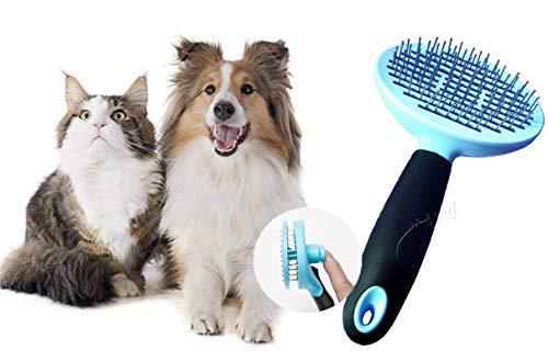 Socluer Hundbürste, Katzenburste mit selbstreinigender Basis Geeignet Sanfte Zupfbürste Kurz bis Langhaar Pet Bürste Ideal für Hunde, Welpen, Katzen und Hasen