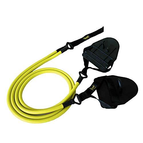 Tyron Latex-Zugseil mit Handpaddles (mittlerer Widerstand) | Zugseil | Schwimmtraining mit Handpaddles | Armzug-Training für Schwimmer und Triathleten