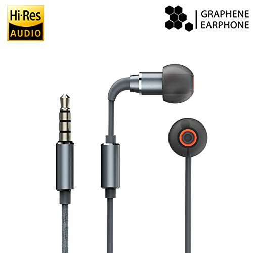 Wired Earbuds, iHaper High-Resolution Audio Certified Graphene Earbuds Hi-Res Audio in-Ear Sports Hi-Fi Stereo Earphone with Built-in Microphone - Black
