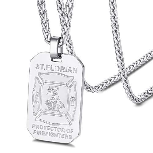 FaithHeart Edelstahl Herren Dog Tag Anhänger Schutzpatron Florian Anhänger Tailsman Amulett mit Geschenkebox für Herren männer Jungen