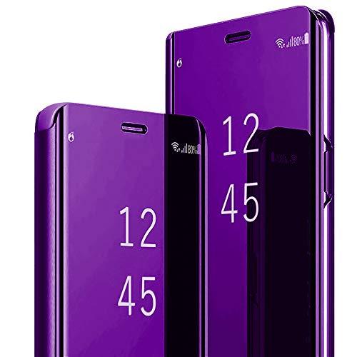 Galaxy S20 FE 5G Funda de piel con tapa de espejo para teléfono móvil, carcasa de 360 grados, carcasa rígida de policarbonato antigolpes, carcasa para Samsung Galaxy S20 FE de 6,5 pulgadas