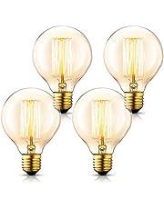エジソン電球 Asgens G80 40W E26口金 円型 り ヴィンテージエジソンランプ タングステンフィラメント電球(アンバー) アンティーク風 調光可能 ホーム照明デコレーション用器具 電球付け替え, 4個入