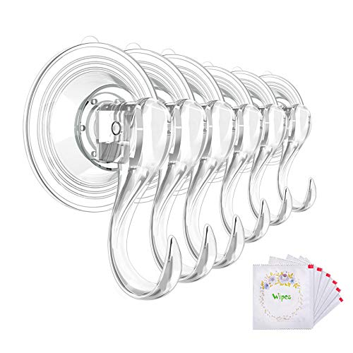 VIS'V Suction Cup Hooks, Small Clear Reusable Heavy Duty Vacuum Suction Cup Hooks with Cleaning Cloth Strong Window Glass Kitchen Bathroom Hooks for Towel Robe Utensils Christmas Wreath - 6 Packs
