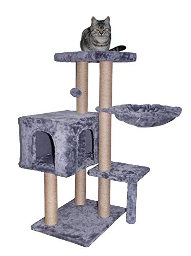 WIKI 002G Cat Tree has Scratching Toy with a Ball Activity Centre Cat Tower Furniture Jute-Covered...