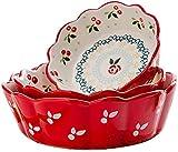 WQF 3 tazones pequeños de Porcelana, tazones de Postre para ensaladas de Frutas japonesas, para Sopa, Pasta, arroz, Cereales, Postre, Yogur, condimentos, microondas y lavavajillas