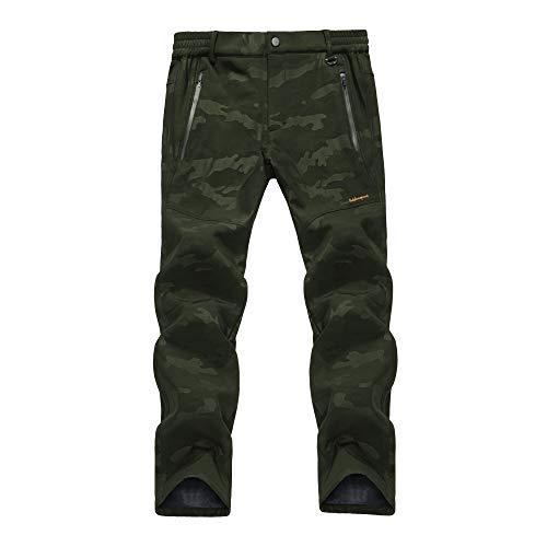 LY4U Outdoor Trekking da Campeggio per Uomo Impermeabile Soft Shell Foderato in Pile Spessore Caldo Resistente all'Usura Pantaloni Invernali mimetici Pantaloni