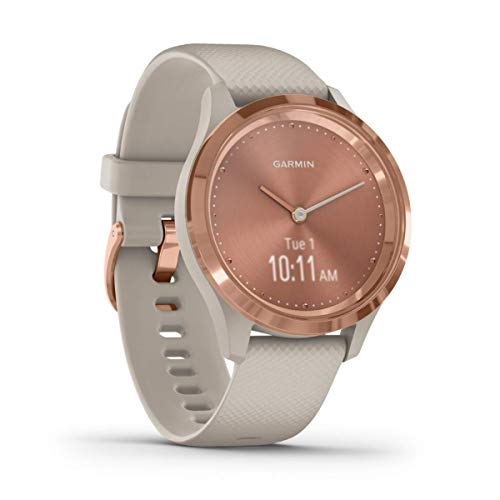 Garmin vívomove 3S, Hybrid Smartwatch with Real Watch Hands and Hidden Touchscreen Display, Rose Gold with Light Sand Case and Band (Renewed)
