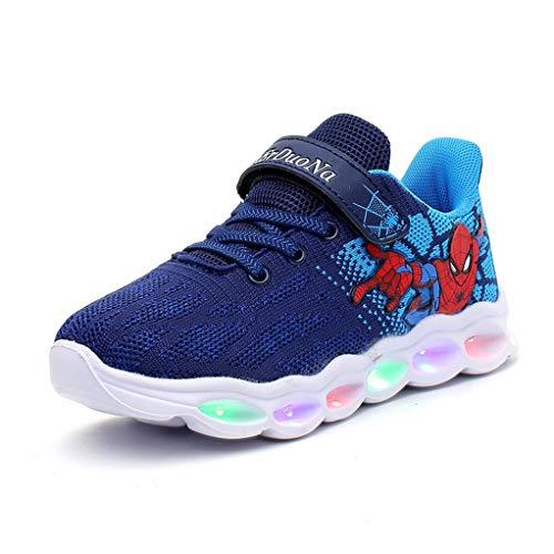 YEMAO Enfants GARÇON Spiderman Light Up légère Sneaker Chaussures de Sport de Course Casual Shoes,Blue-29 EU