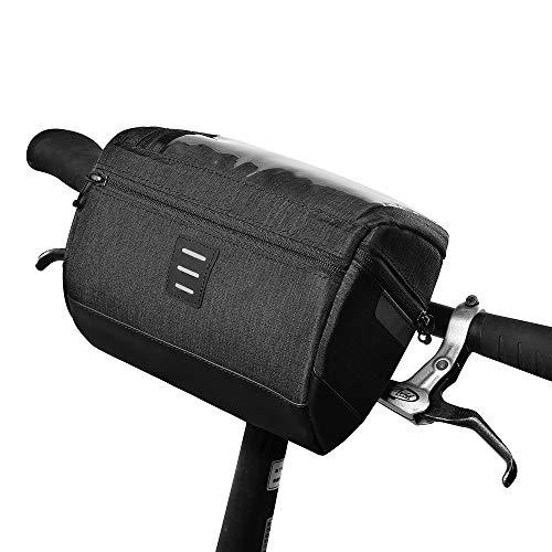 Lukovee Fahrradtasche Lenker, fahrradtaschen wasserdicht vorne Touchscreen handyhalterung up to 6.2inch Smartphones für e Bike MTB Verstellbarer (Schwarz)
