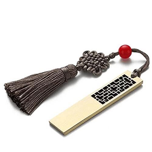 USB Memory Stick Chinese Style USB Flash Drive 64g Gran capacidad Ruyi Yuanbao Flor de la ventana de la ventana de cuatro hojas 4 formas Textura metálica Retro tecnología impermeable a prueba de golpe