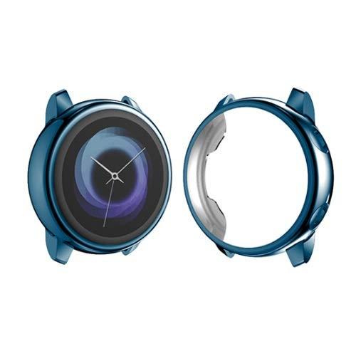 PZZZHF Funda protectora para Samsung Galaxy Watch Active 2 ultra fina silicona suave HD Full Screen Protection Cover Galaxy Active 40/44mm (color azul oscuro, diámetro de la esfera: activo 2 44mm)