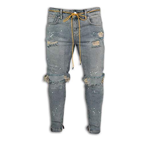 Pantalones Vaqueros de Cintura Media para Hombres de Verano, Pantalones Vaqueros Delgados con Costura de Pintura salpicada Hecha jirones a la Moda, Pantalones Vaqueros cómodos Regulares XXL