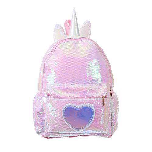 TENDYCOCO Backpack Sequin Unicorn Schoolbag Glitter College Bookbag for Girls Women (Pink)