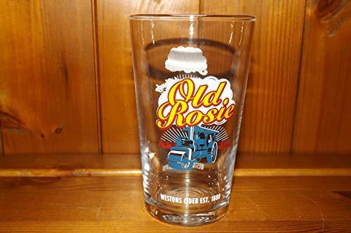Old Rosie - Vaso de cristal de media pinta, diseño de la...