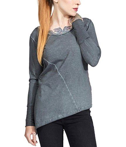 trueprodigy Casual Damen Marken Shirt Long Sleeve einfarbig Basic Oberteil Cool Stylisch V-Ausschnitt Langarm Slim Fit Langarmshirt für Frauen, Größe:XS, Farben:Anthrazite