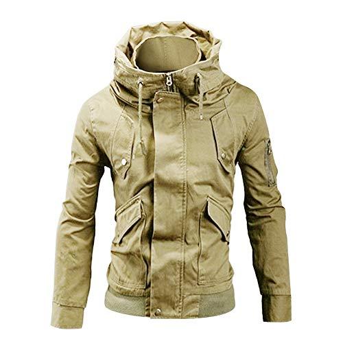 Mode Herren Tasche Stehkragen Zip Jacke FRAUIT Plus Größe Männer Mantel Einfarbig Langarm Steppjacke Arbeitskleidung im Freien Multifunktional Top Outwear Coat
