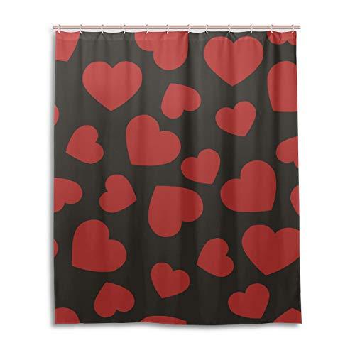 JSTEL Rideau de Douche décoratif 100% Polyester Motif cœurs 152 x 183 cm