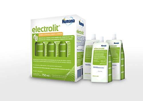 Humana ELECTROLIT® Soluzione di reidratazione orale per bambini e adulti con sali minerali, fibre prebiotiche e zinco, 3 confezioni da 250 ml
