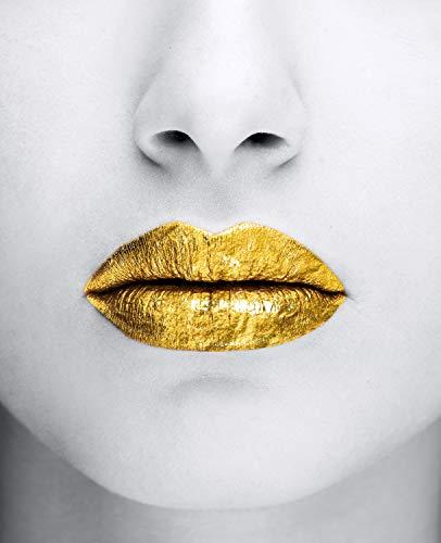Queence | Acrylglasbild mit Blattgold | Wandbild Glasbild Acrylbild Rahmenlos | Goldene Lippen | Druck auf Acrylglas | Goldveredelung | Größe: 40x60 cm