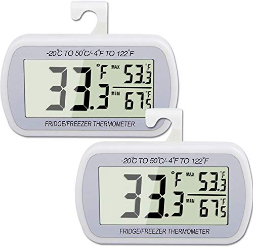 AEVETE 2 Pack Waterproof Digital Refrigerator Thermometer Large LCD, Freezer Room Thermometer with Magnetic Back, No Frills Easy to Read