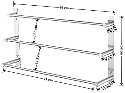 Plantex High Grade Stainless Steel 3-Tier Towel Rod for Bathroom/Towel Bar/Hanger/Stand/Bathroom Accessories - Chrome