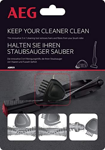 AEG ABRO1 Haarschneider (für Bürstenrollen, Bürsten von Saugrobotern und Akku Staubsaugern, Entfernen von Haaren, Reinigen, 3in1 Funktion, integrierter Kamm, Metallnadel, integrierter Magnet) schwarz