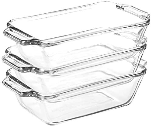Anchor Hocking 1.5-Quart Oven Basics Loaf Dish, Set of 3, Clear