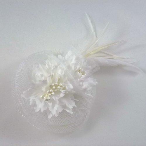 rougecaramel - Accessoires cheveux - Broche fleur/pince cheveux mariage 11cm - blanc