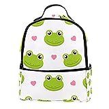 FURINKAZAN Lindo dibujos animados ranas con corazones PU cuero mini mochila bolso moda viaje mochila