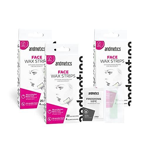 andmetics Juego de 3 tiras de cera facial: tiras de depilación con cera fría, tiras de depilación facial, 20 tiras de cera