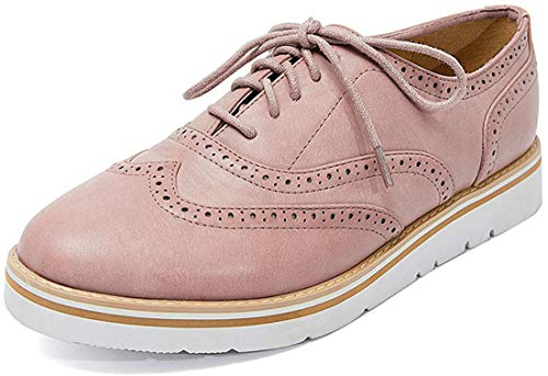 Susanny Women's Wigtips Oxfords Platform Lace Up Brogues Slip on Perforated Spring Shoes Pink 10 B (M) US