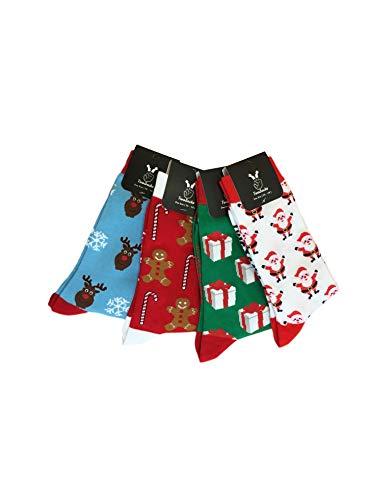 TwoSocks - lustige Socken Damen Herren witzige Strümpfe als Geschenk, Einheitsgröße (Lebkuchen + Geschenk + Weihnachtsmann)