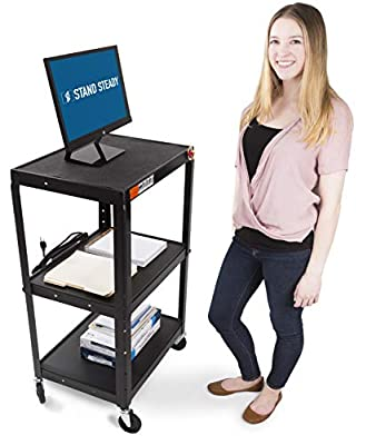 AV Cart on Wheels by Stand Steady - Includes Three Height Adjustable Shelves & Pullout Keyboard Tray!