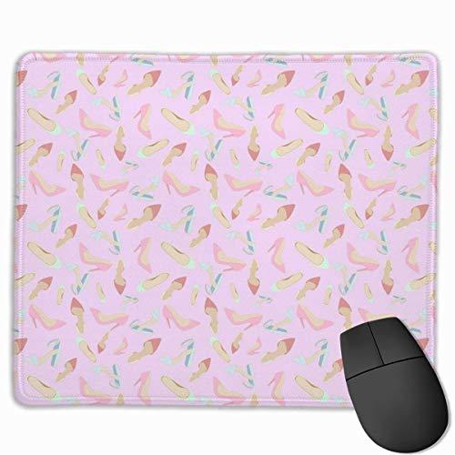 Rosa High Heels Muster rutschfeste einzigartige Designs Gaming Mouse Pad schwarz Stoff Rechteck Mousepad Art Naturkautschuk Mausmatte mit genähten Kanten