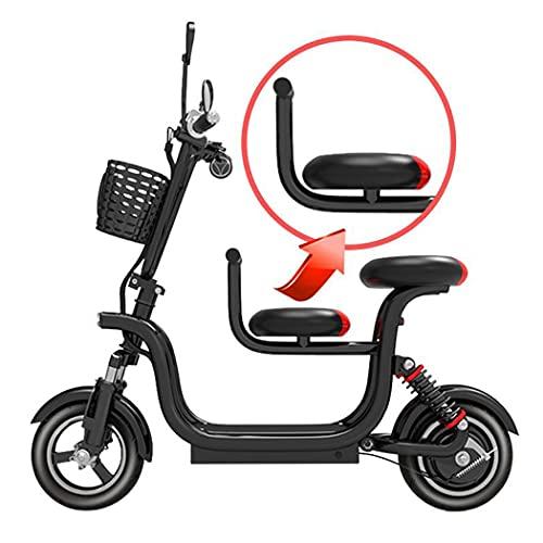 Hmvlw Bicicleta eléctrica Scooter eléctrico Plegable de absorción de choques pequeños, Plegable, con Asiento y Canasta para niños Desmontables, desbloqueo de Control Remoto, batería de 48V 50km