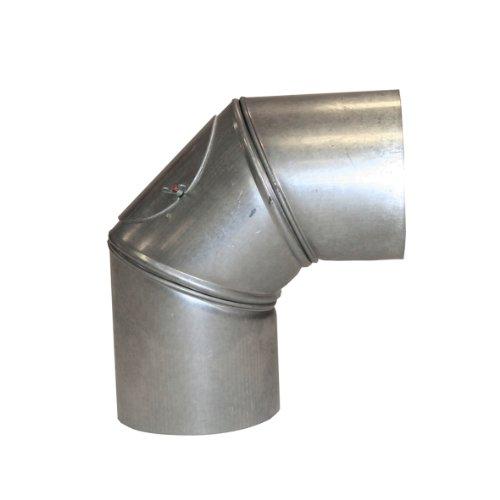 Kamino Flam Bogenknie silber mit Tür, Winkel von 90°, Abgasrohr aus feueraluminiertem Stahl, rostfreier Rohrbogen, geprüft nach Norm EN 1856-2, Durchmesser: ca. 120 mm