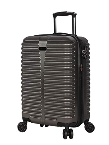 Ciao 20 Inch Carry On with Built-in TSA Lock - Scratch Resistant 100% Polycarbonate Suitcase - Lightweight Expandable Luggage With 8-Rolling Spinner Wheels (Charcoal With TSA Lock)