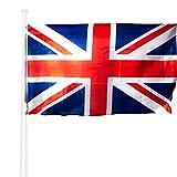 KliKil Drapeau Anglais Resistant Exterieur 90x150 cm - 1 Drapeaux de Grande Bretagne - bannière des Couleurs résistantes à l'extérieur - United Kingdom Flag 150x90 cm renforcés