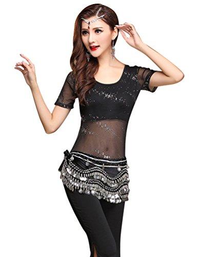 YiJee Damen Pailletten Gaze Tanzkleidung Kostüm Set Bauchtanz Tops Pants Set Schwarz XL