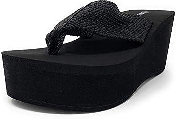 Wild Diva Womens Heat High Platform Wedge Flip Flop Sandals,Black,10