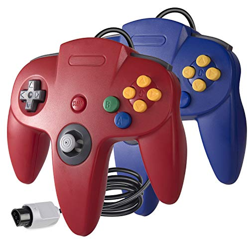 suily 2x Classic Wired Game controller Gamepad Joystick für N64 Konsole N 64 System (Rot / Blau)
