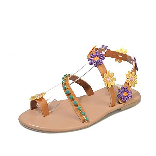 JFFFFWI Sandalias Planas para Mujer Zapatos Casuales Bohemios Sandalias de Cuero elástico Diamantes de imitación de Verano Chanclas de Playa con Flores Sandalia de Flores con Lazo de Dedo del pie pa