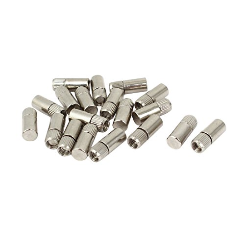 uxcell 21mm x 8mm Metal Cylindrical Rod Studs Pegs Shelf Support Pins Silver Tone 20PCS