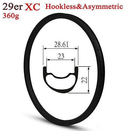 Yuanan Cross Country XC Jante Carbone 28mm de Largeur Asymmestric Typetubeless prêt pour Le vélo...